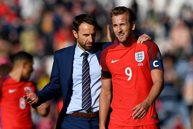 England manager Gareth Southgate with captain Harry Kane.