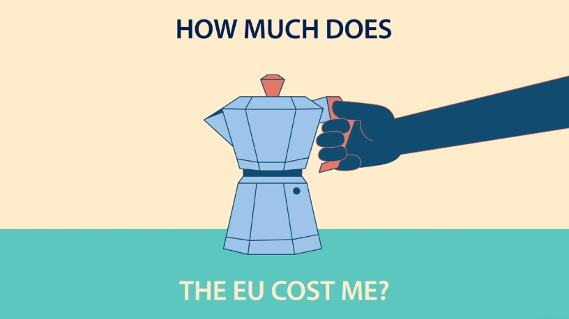 "A still from an EU Commission Facebook video. (""About half a cup of coffee a day,"" it goes on to claim.)"