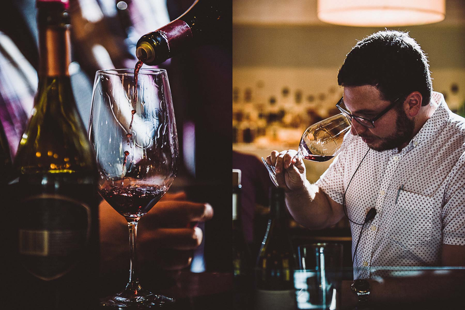 Sommelier meets with a wine industry representative and tastes a wine from their collection.