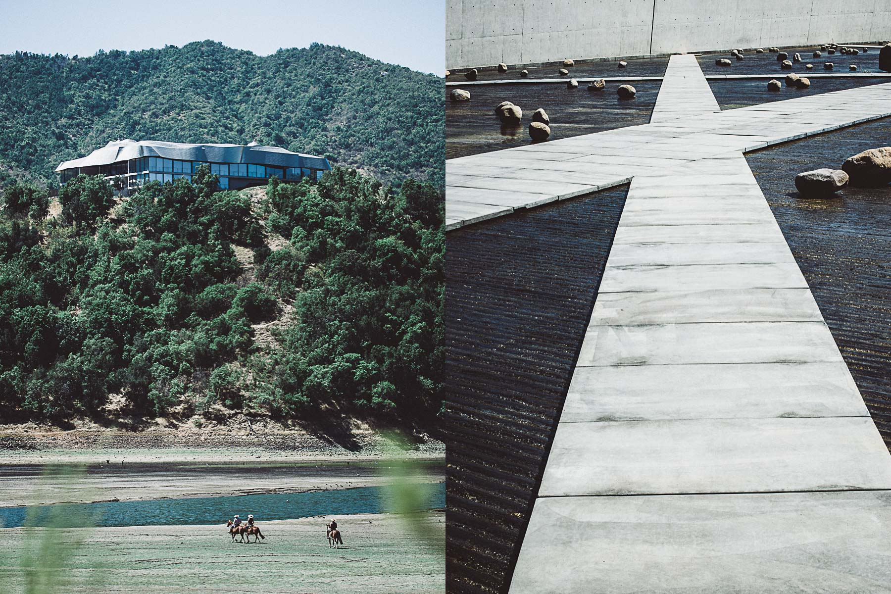 Guests explore Vina Vik on horseback and architectural features of the winery.