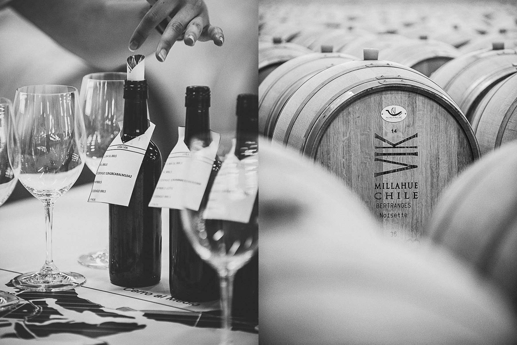 Inside the bodega during a wine tasting at Vina Vik wine resort, Chile.