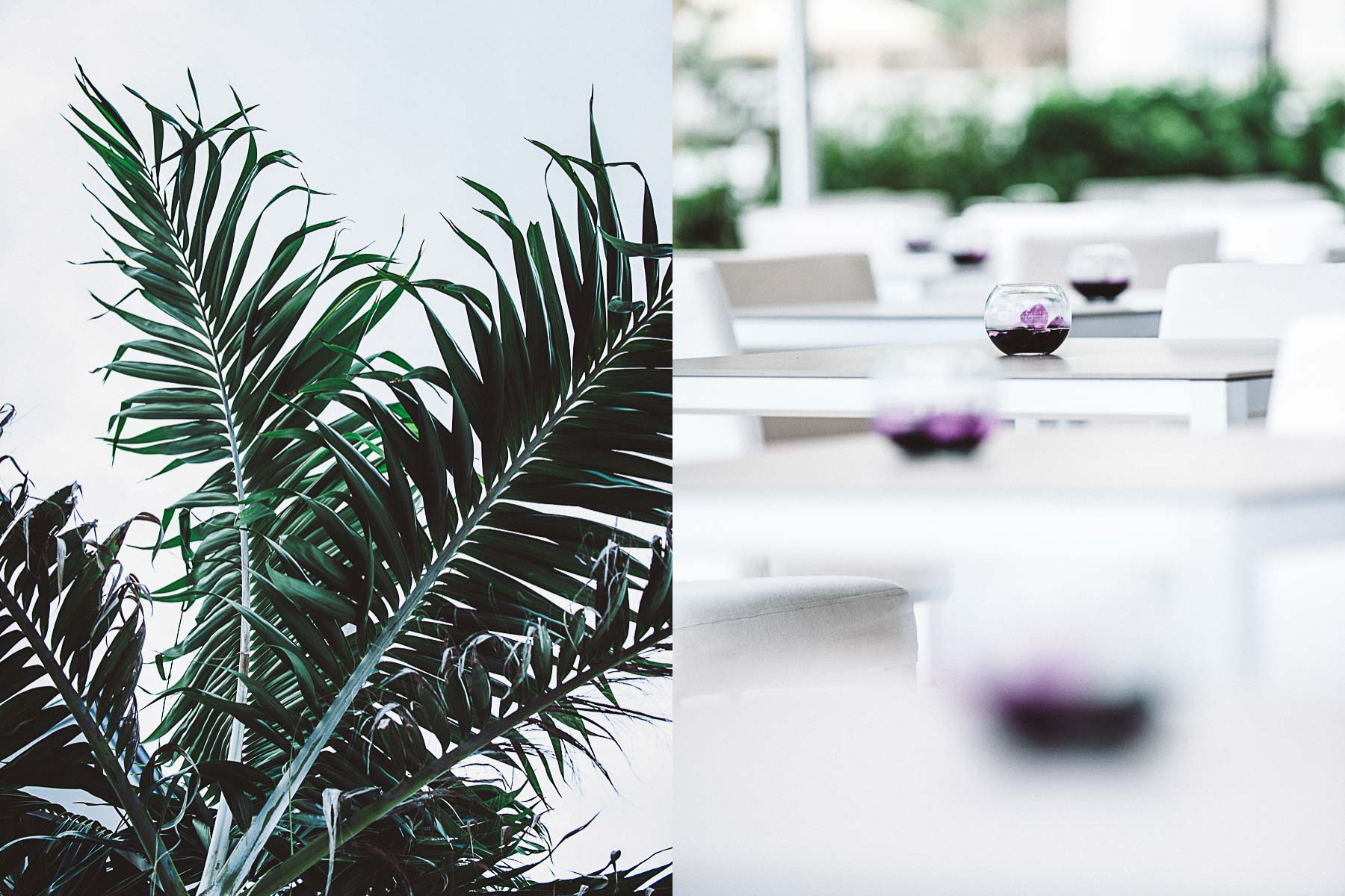 Palm trees swaying and lovely floral details on the outside patio.