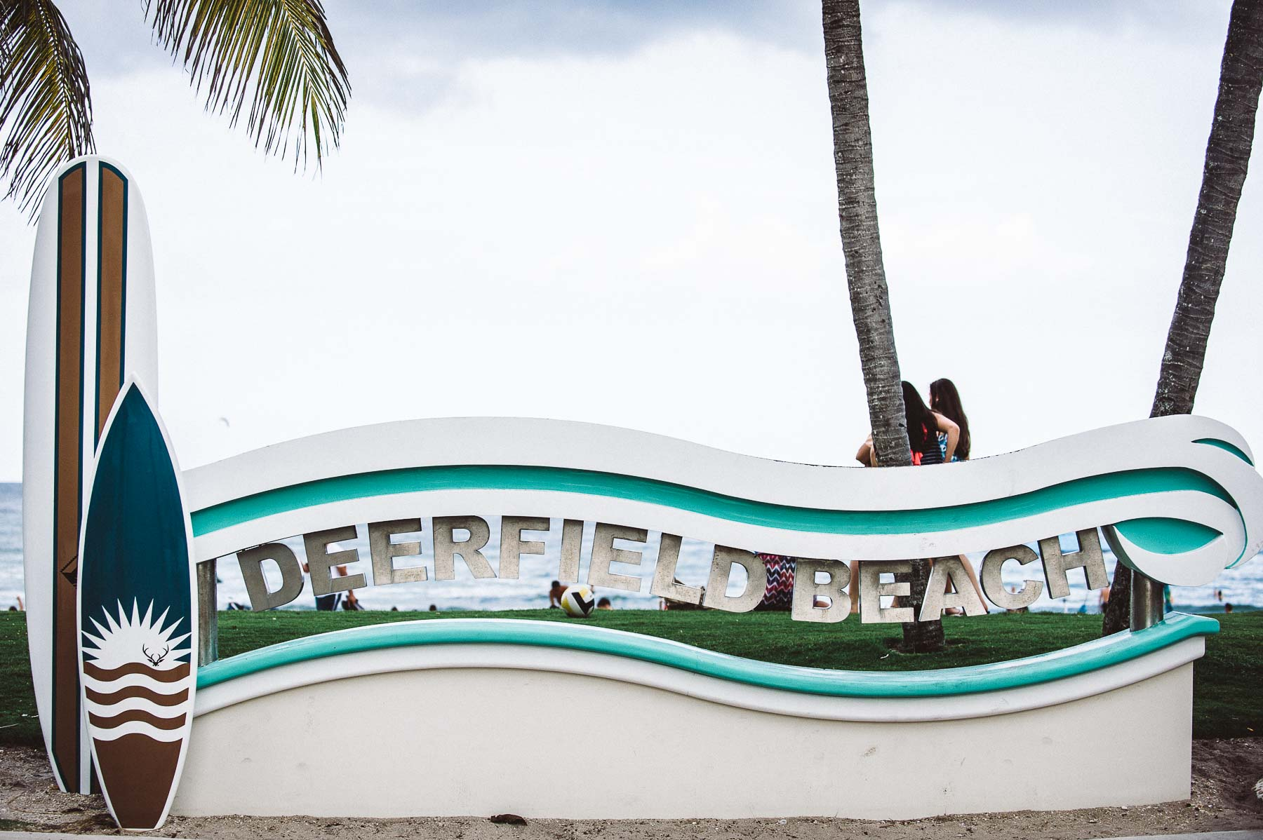 The Royal Blues Hotel's unbeatable location: just in front of the Deerfield Beach sign and popular pier.