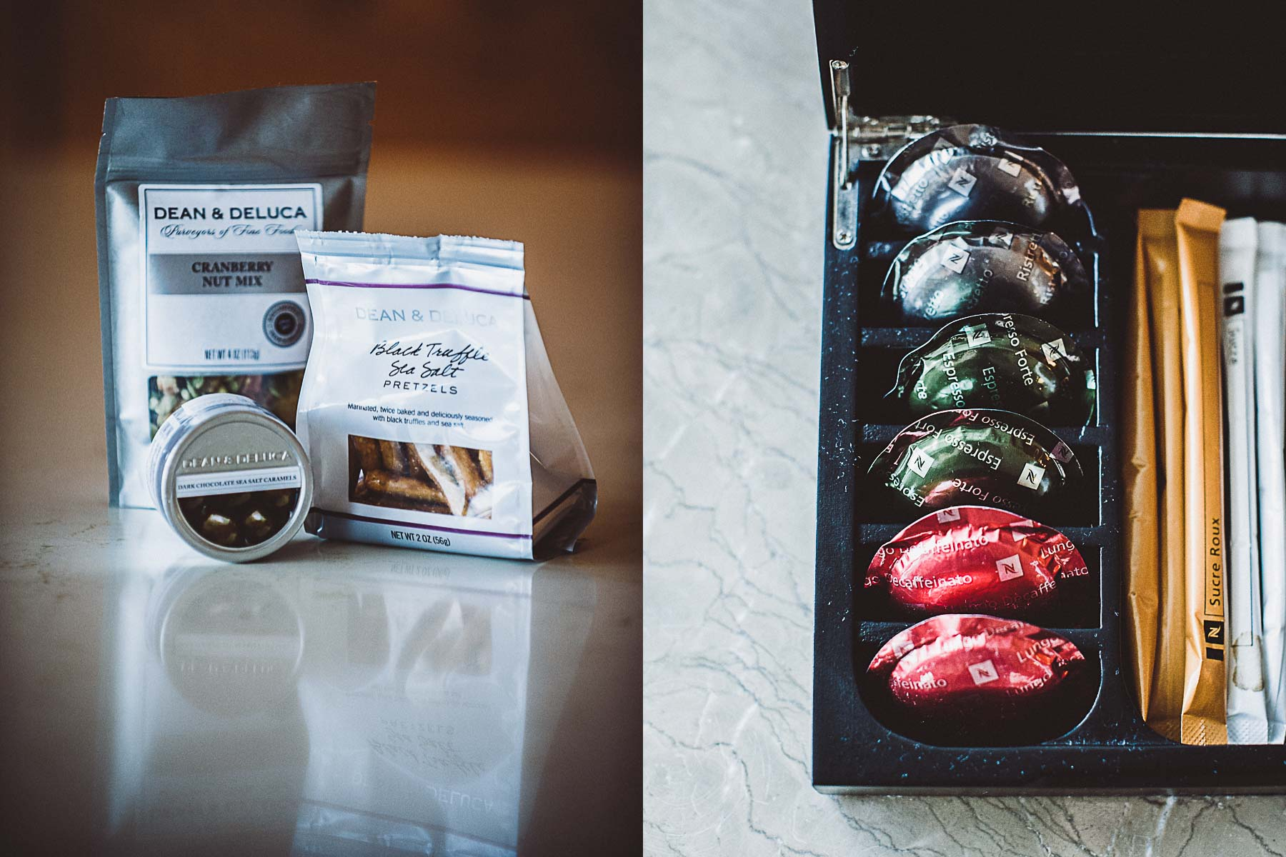 The guest room's snack and coffee offerings.
