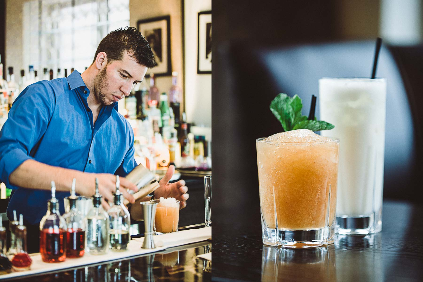 Bartender Diego Sena prepares a craft Cocktail at the Royal Blues Hotel in Deerfield Beach, Florida.