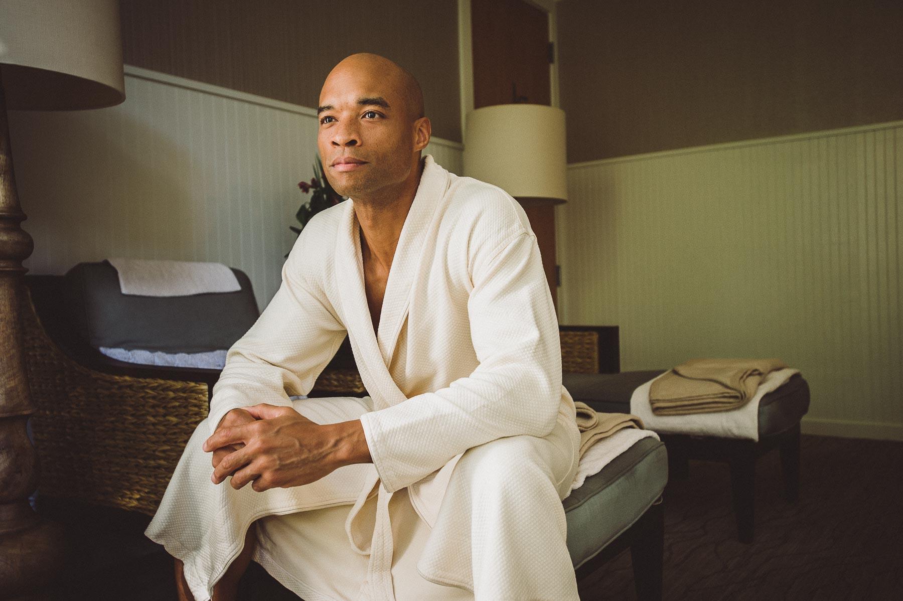 Man enjoys the private meditation room at Omni, Amelia Island Resort.