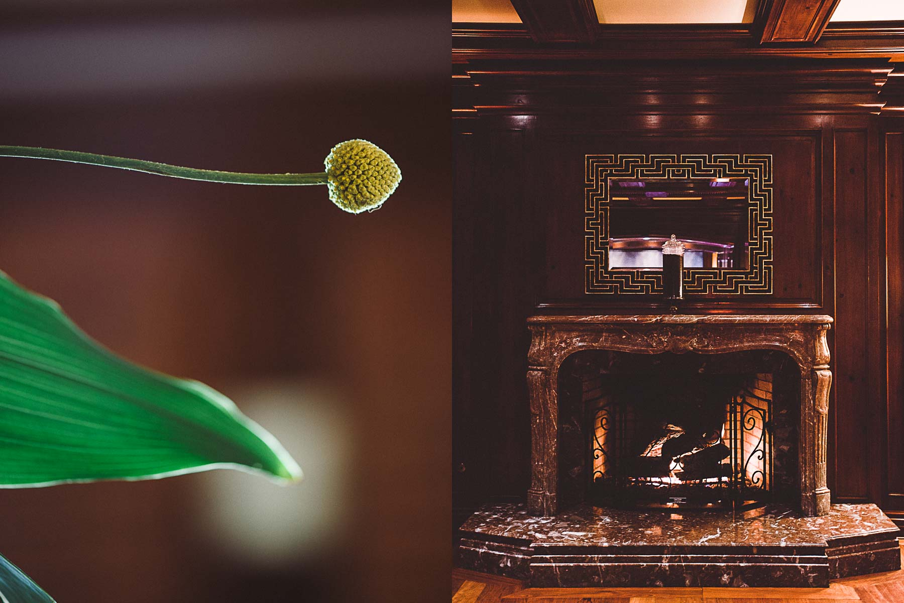 A floral arrangement and fireplace at Salt, Ritz-Carlton, Amelia Island.