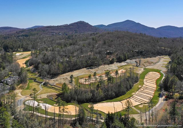 #Droneview: High Hampton golf course renovation, #Cashiers, NC. @BrasfieldGorrie #drone #aerialphotography #underconstruction