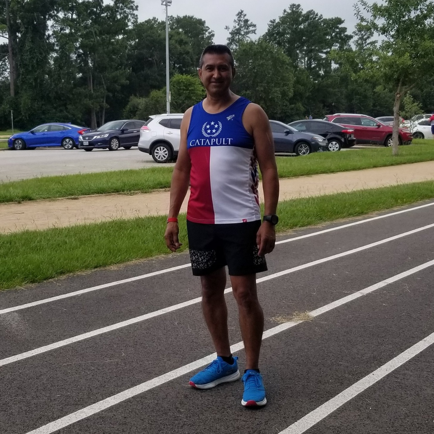 Victor Santos (Guide) - I'm Texas-born but grew up in Mexico and moved to Houston when I was about ten years old. I've always loved the outdoors and have been very active in running, cycling, swimming and have climbed a few 14,000 peak mountains with my sons! My achievements include numerous 5K's, 10K's, three 10 milers, nine half marathons, one 50 miler, one 55 miler, five 200 mile relays, and a sprint triathlon. In 2016 I learned about Team Catapult and decided to join as a volunteer and guide. Since then, I've guided VI athletes in 10K's, The Woodlands Half, The Chevron Houston Half, and the 200 mile Texas Independence Relay! I love helping our athletes achieve their goals, and love to see the sheer joy on their faces!