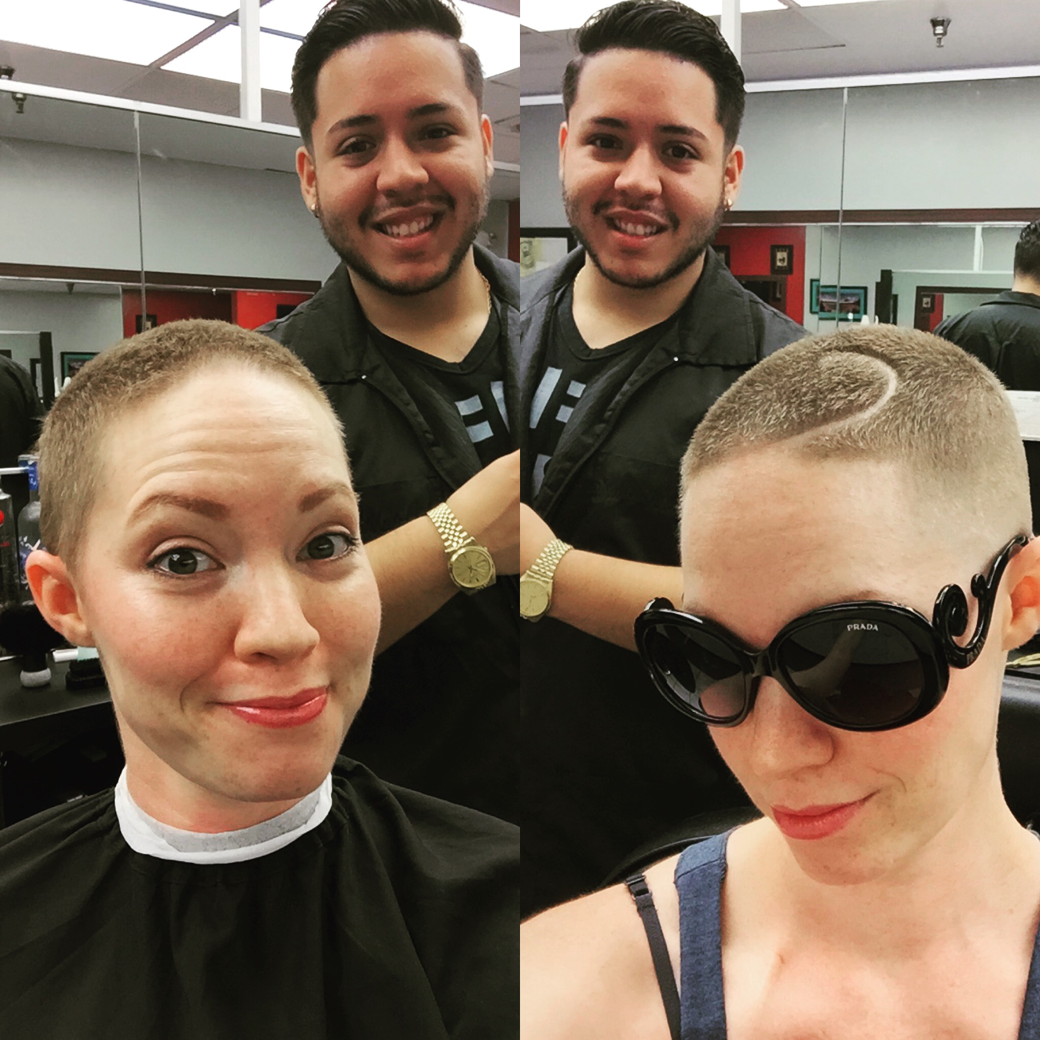 First haircut. Two months post-chemo.Fade with a spiral part razor cut in.