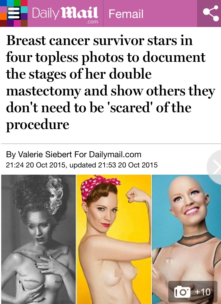 Daily Mail Aniela McGuinness Article Breast Cancer Survivor Double Mastectomy Photo Series