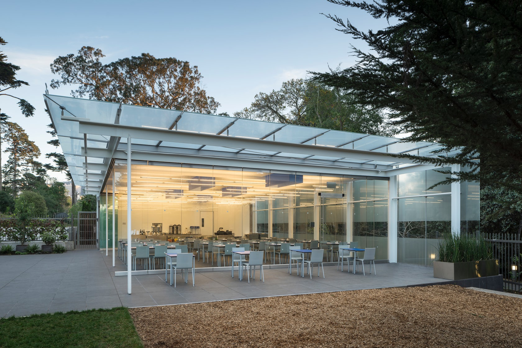 Terrace Cafe - California Academy of Sciences    Cylindrical Glass Facade Swivel Fitting  &  Glass Clamp Swivel Fitting   Location – San Francisco, CA. Customer – CS Erectors. Completed – 2014. Custom glass roof supports and rotules.