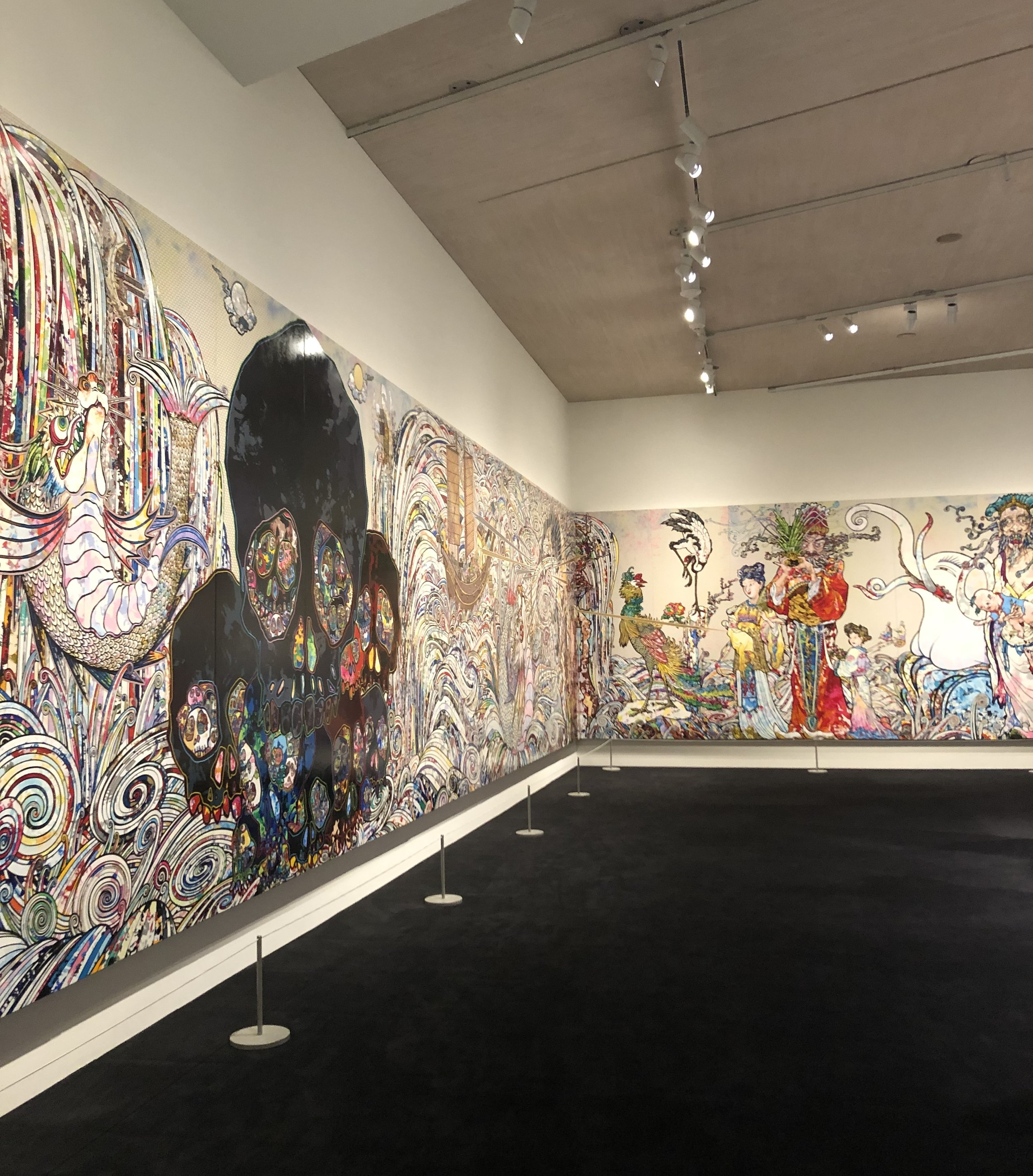 "Takashi Murakami's giant 2014 painting ""In the Land of the Dead, Stepping on the Tail of a Rainbow"" at the National Gallery of Art."