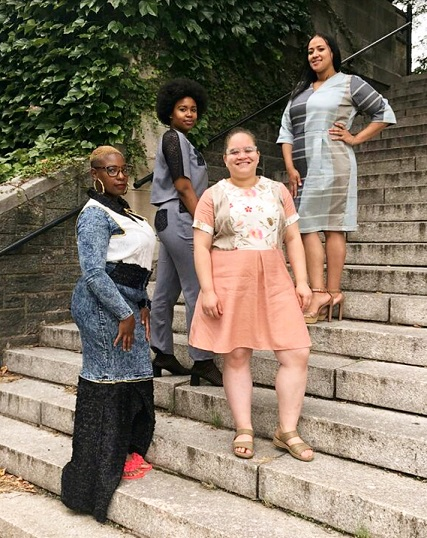 Eileen and her Sew Sisters, September 2018 graduating class at Custom Collaborative's Training Institute, wearing their final looks designed and made by them using upcycled materials.