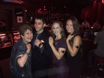 Showing off our tatoos at Matt Baker's CD release at Birdland (NYC)
