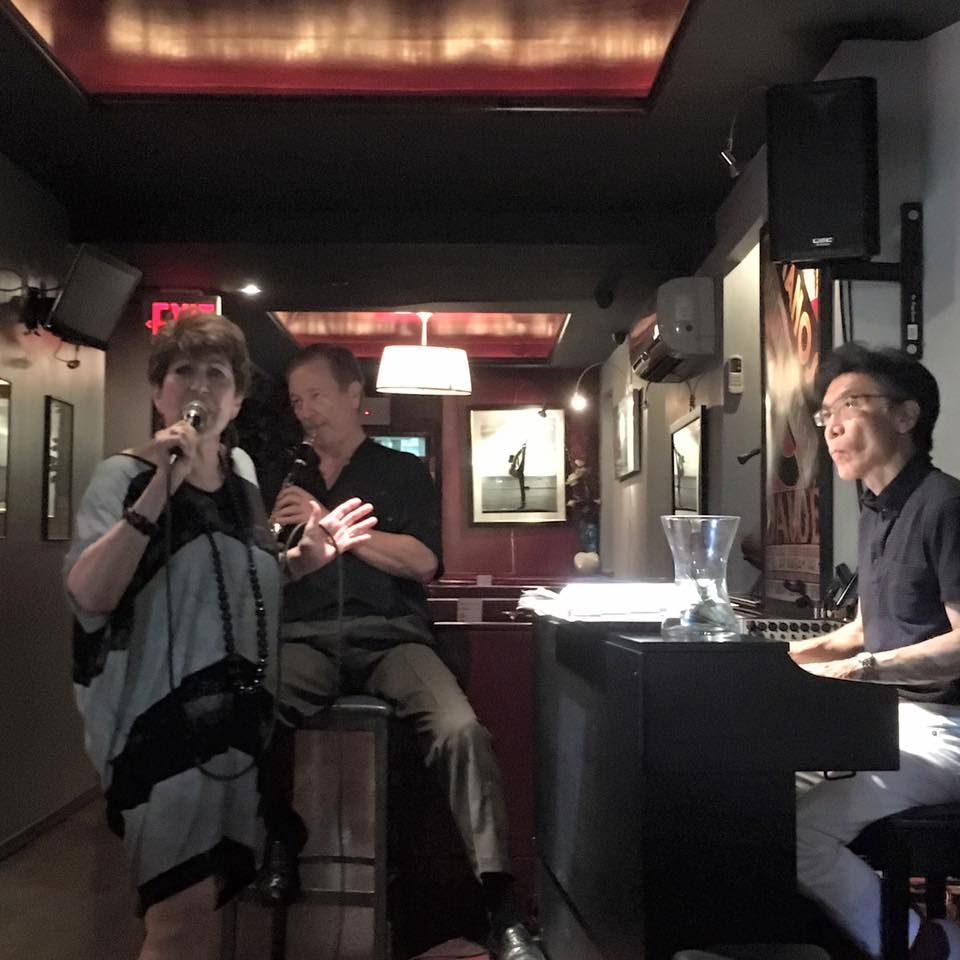 Joan Jaffe  sitting in with The Rick Bogart Trio at Broadway Thai (NYC) - Rick on clarinet, Kuni Mikami on piano