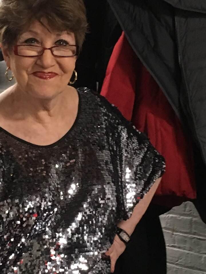 Joan backstage at Taylor Mac's Holiday Sauce - Town Hall (NYC)