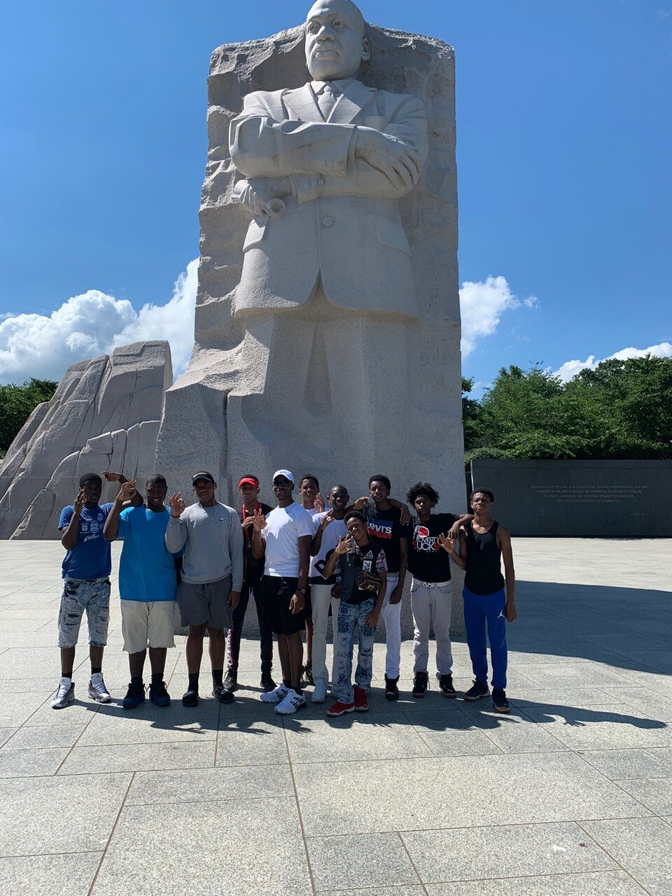 - Officer Keys and the boys at the MLK monument in Washington DC