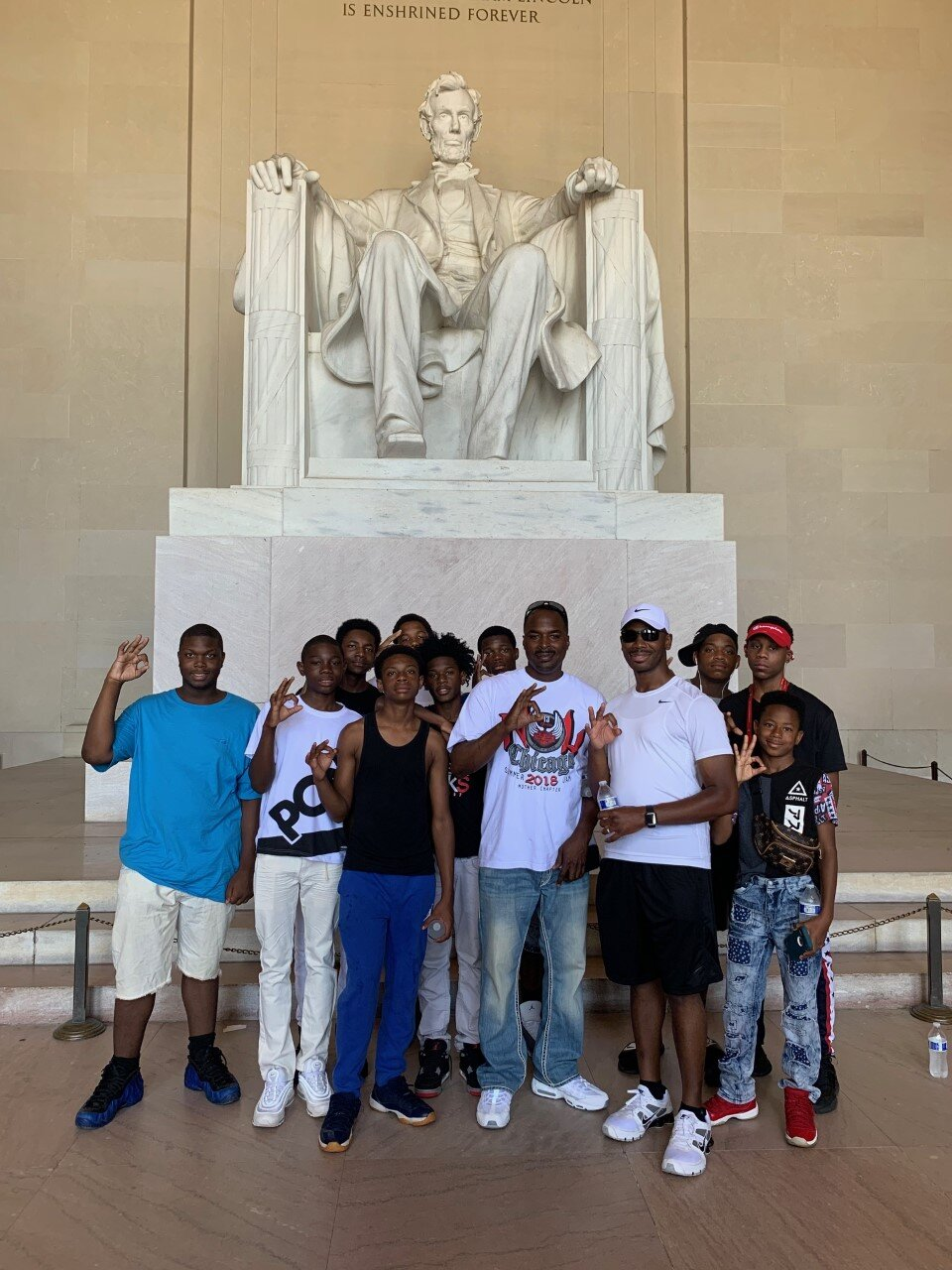 - Officers Keyes and Harris with the boys at the Lincoln monument in Washington DC