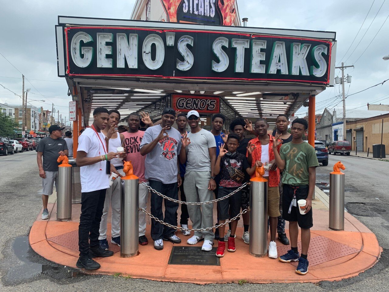 - Officers Keyes and Harris with the boys at Geno's in Philadelphia