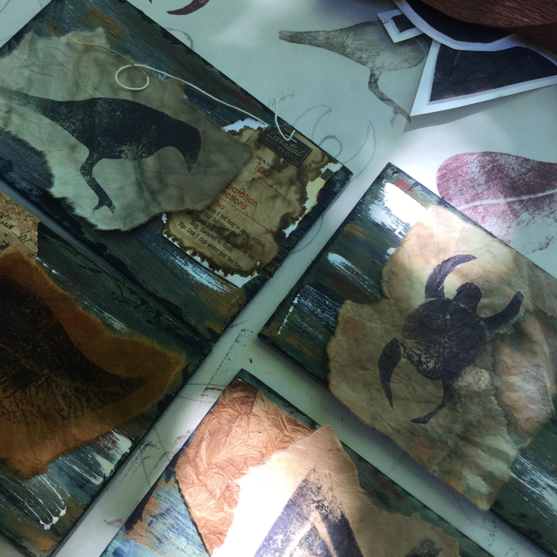 Joan Madden's art in progress.