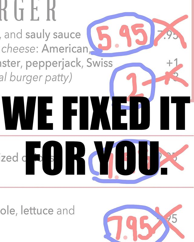 You love our food but not our prices. #fixeditforyou