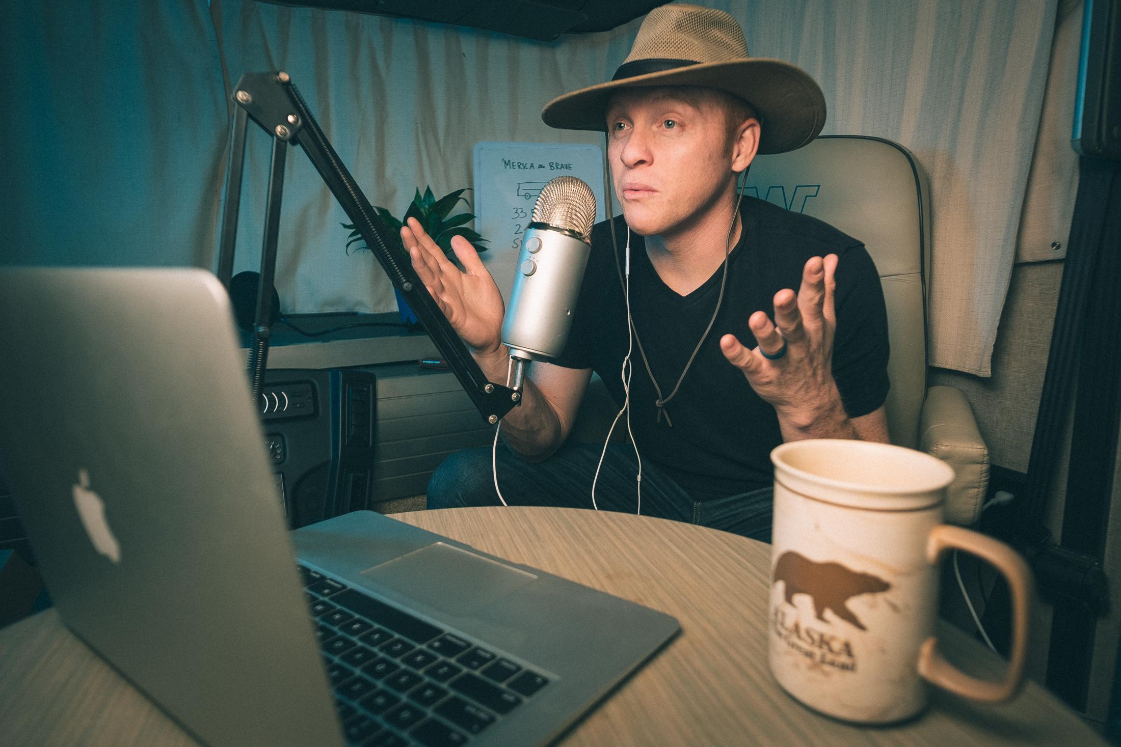 Heath recording his podcast. Image: Kyle Kesterson