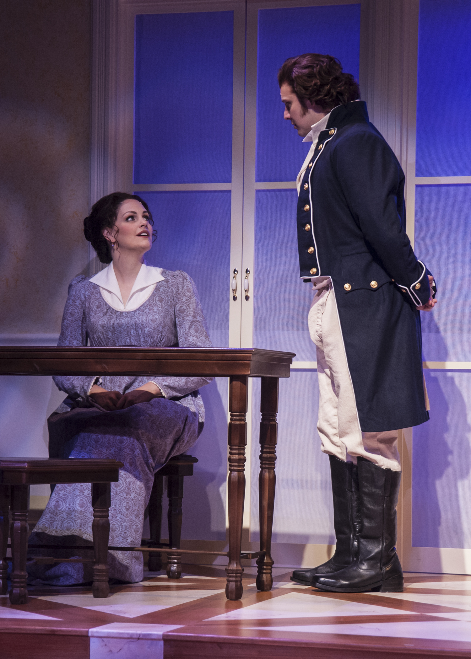 Cayman as Anne Elliot in Persuasion at Taproot Theatre. Photo by Erik Stuhaug. Also pictured: Matthew Posner as Captain Wentworth.