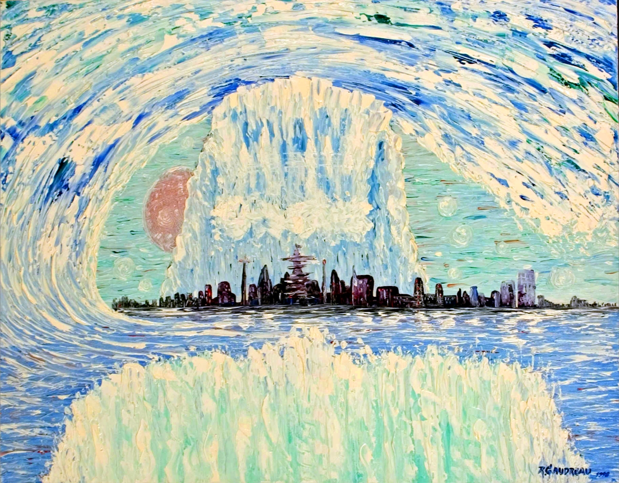 The Marriage Tsunami the New Manhattan   1998 oil knife painting on canvas 22 x 28 inches