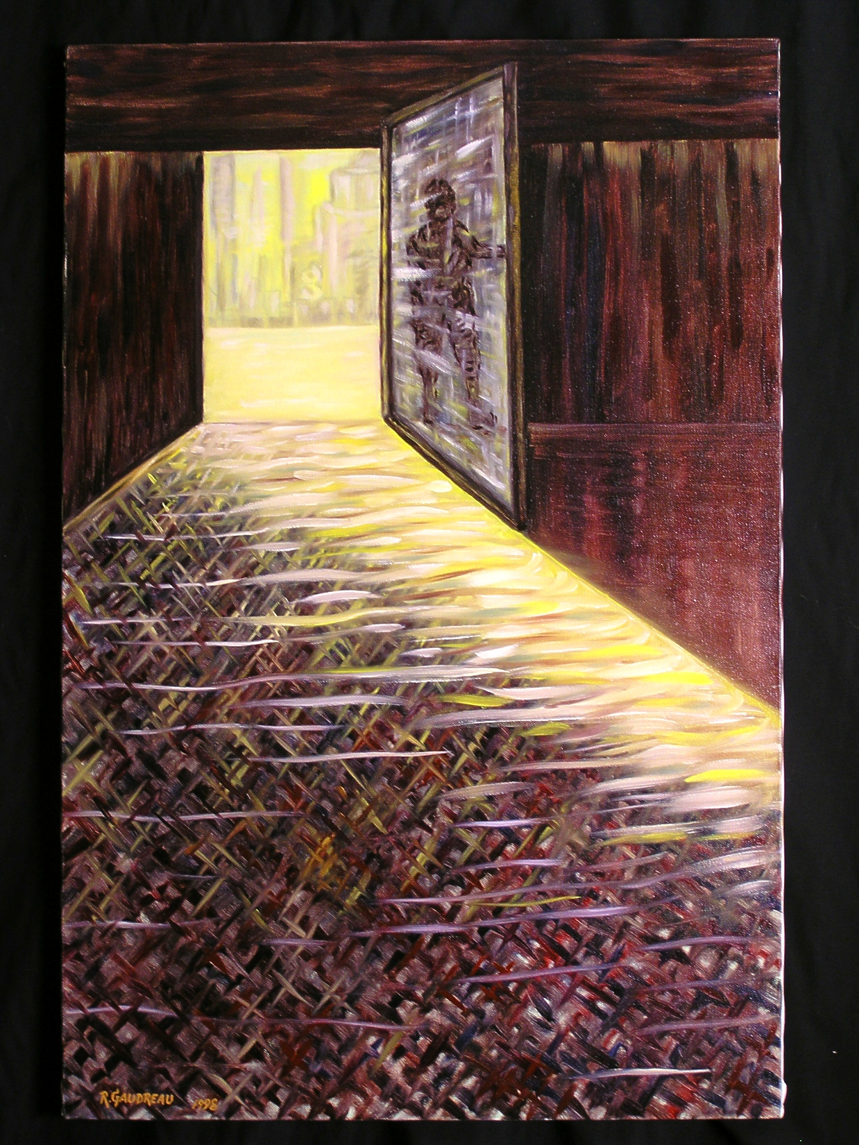 Contemplating the Outside   1998 oil on canvas 30 x 20 inches