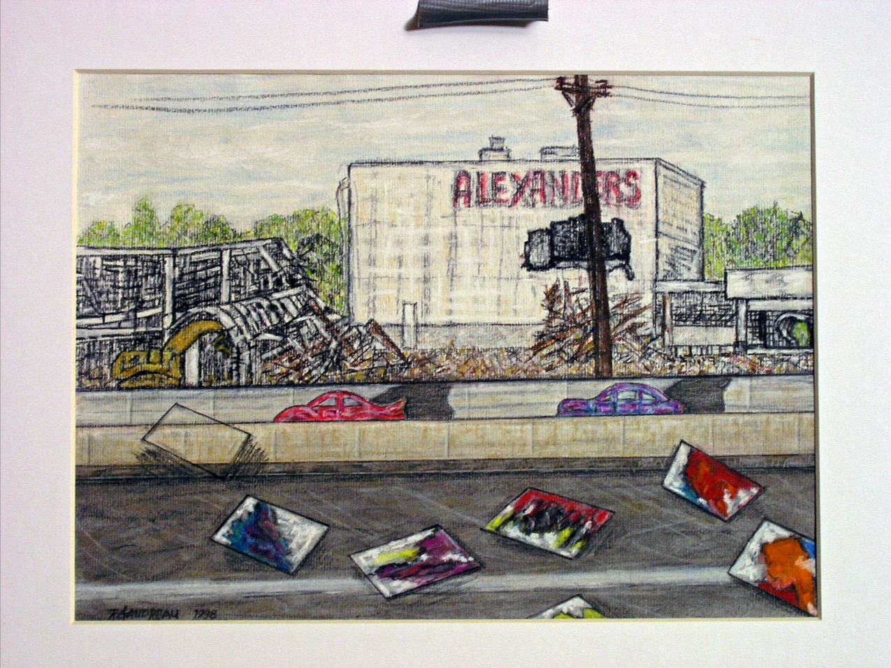 Demolition of Alexanders and the Disappearing Memory of Stefan Knapps Mural Somewhere within the Maze of the Freeway    1999 (Alexanders Department Store, Paramus, New Jersey circa 1999) charcoal, graphite and pastel on paper 9 x 12 inches                           (SOLD)