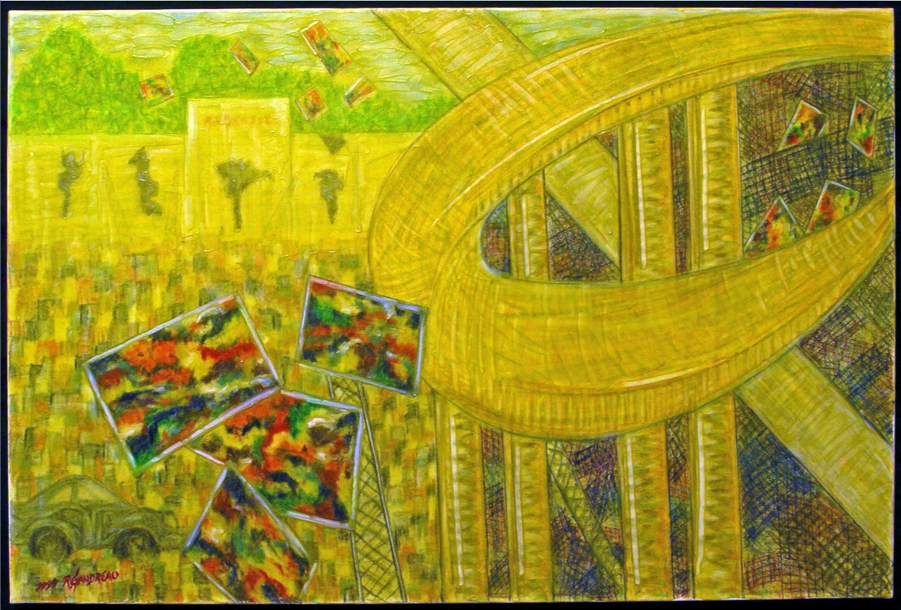 Demolition of Alexanders and the Disappearing Memory of Stefan Knapps Mural Somewhere within the Maze of the New Freeway    1999 (Alexanders Department Store, Paramus, New Jersey circa 1999) mixed media on canvas 24 x 36 inches