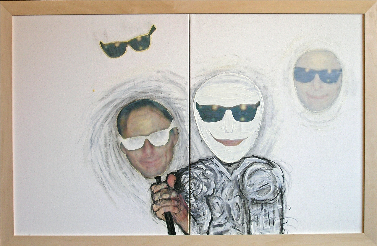 """Impostor 2012-13   Mixed Media, oil, painting on canvas 20""""H x 32""""W (Diptych)"""