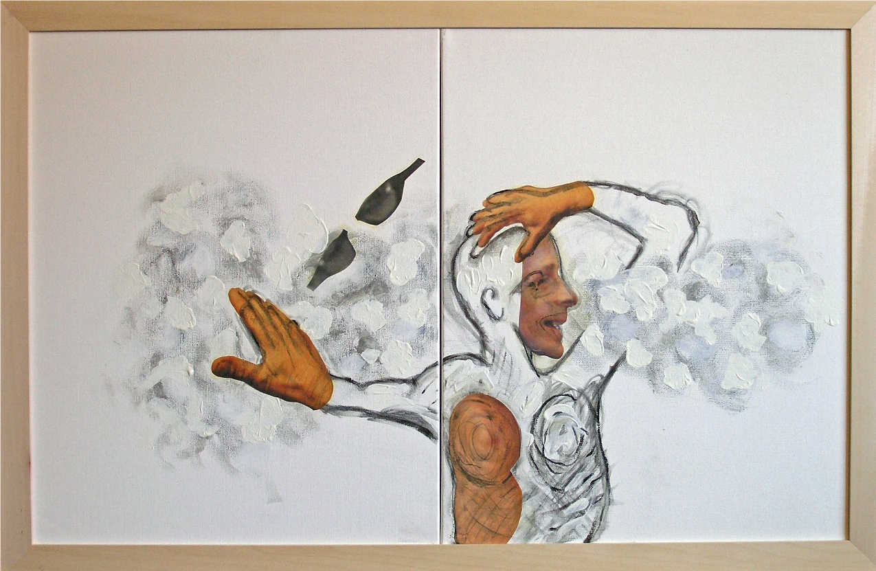 """Dreamer Stuck in a Cloud  2012-13   Mixed Media, oil, painting on canvas 20""""H x 32""""W (Diptych)"""