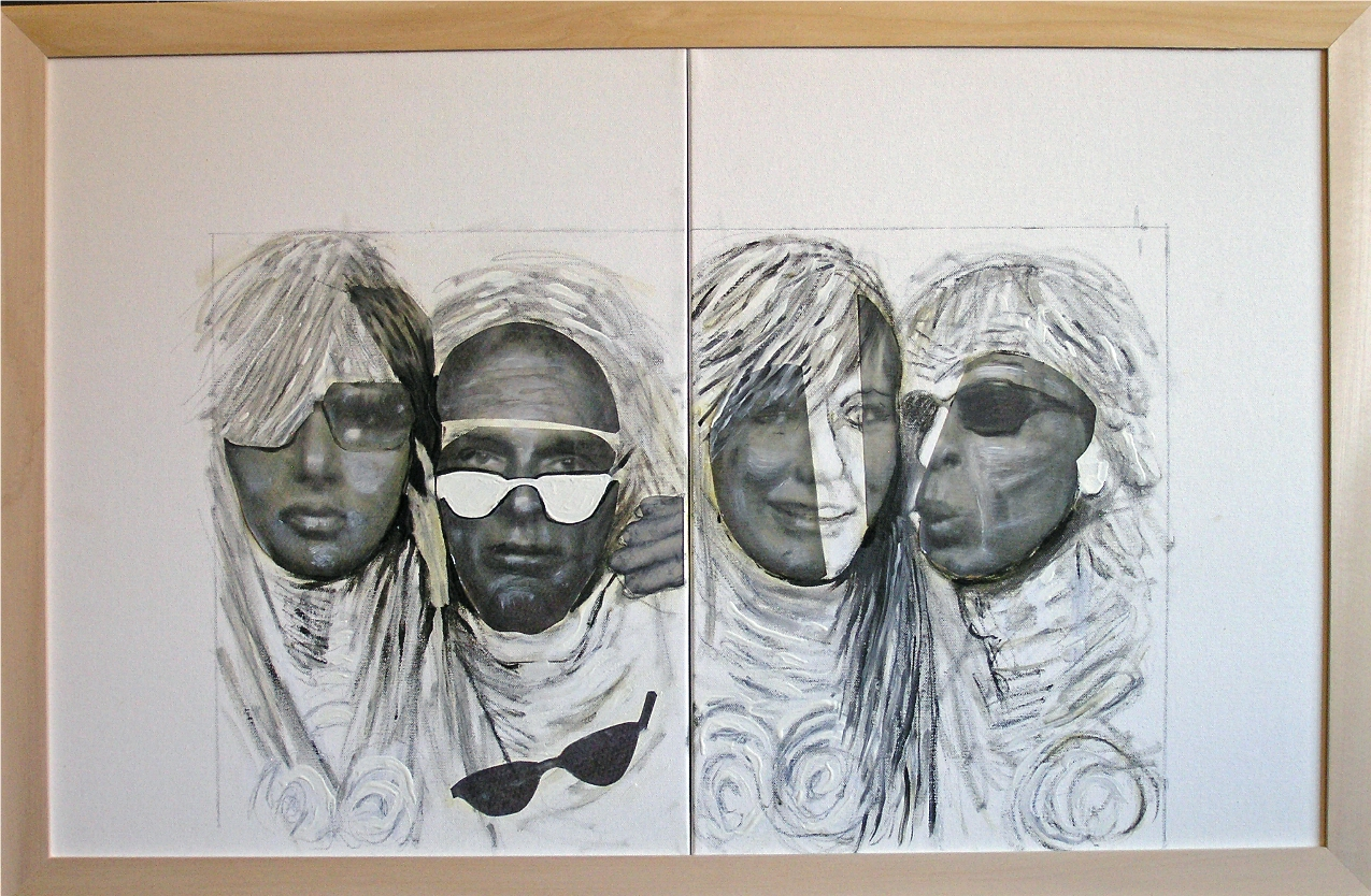 """Photo Booth  2012-13   Mixed Media, oil, painting on canvas 20""""H x 32 1/8""""W (Diptych)"""