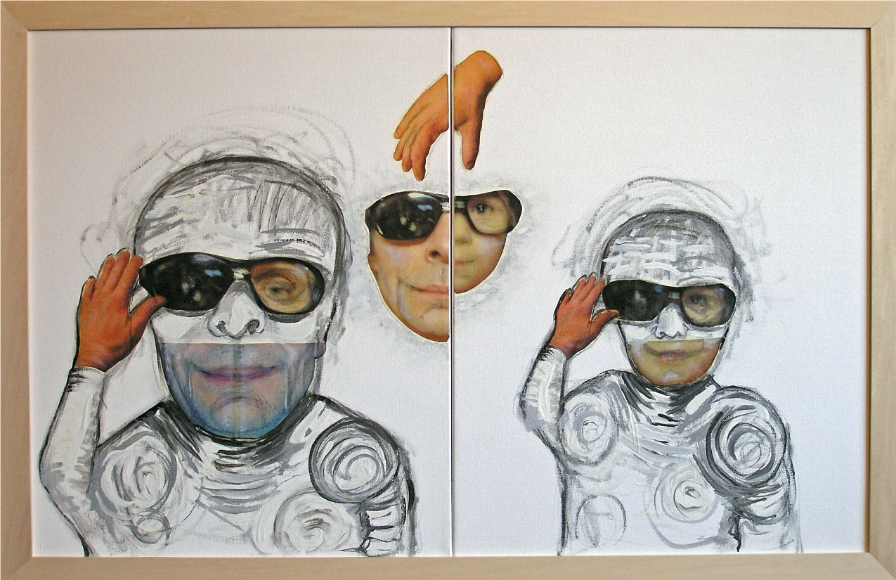 """Copy Cats 2012-13   Mixed Media, oil, painting on canvas   20""""H x 32""""W (Diptych)"""