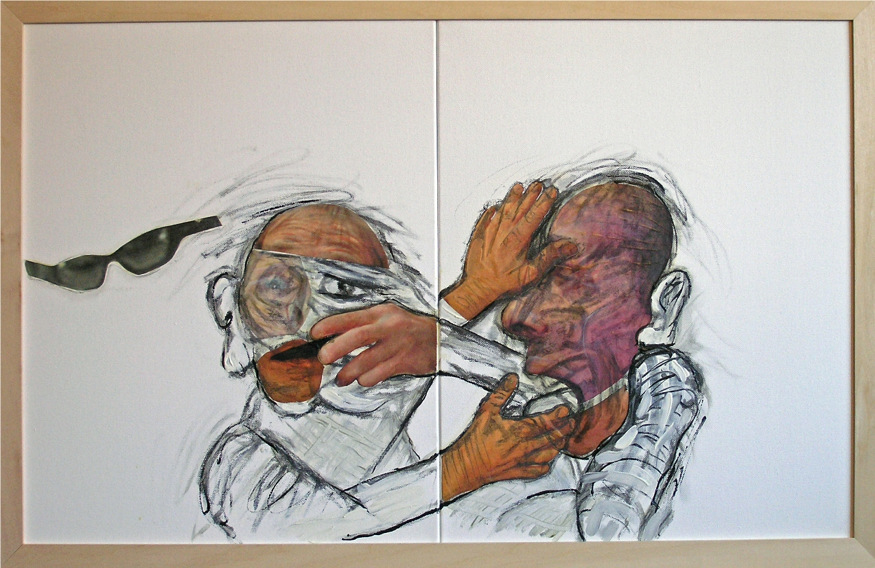 """Agreement  2012-13   Mixed Media, oil, painting on canvas   20""""H x 32""""W (Diptych)"""
