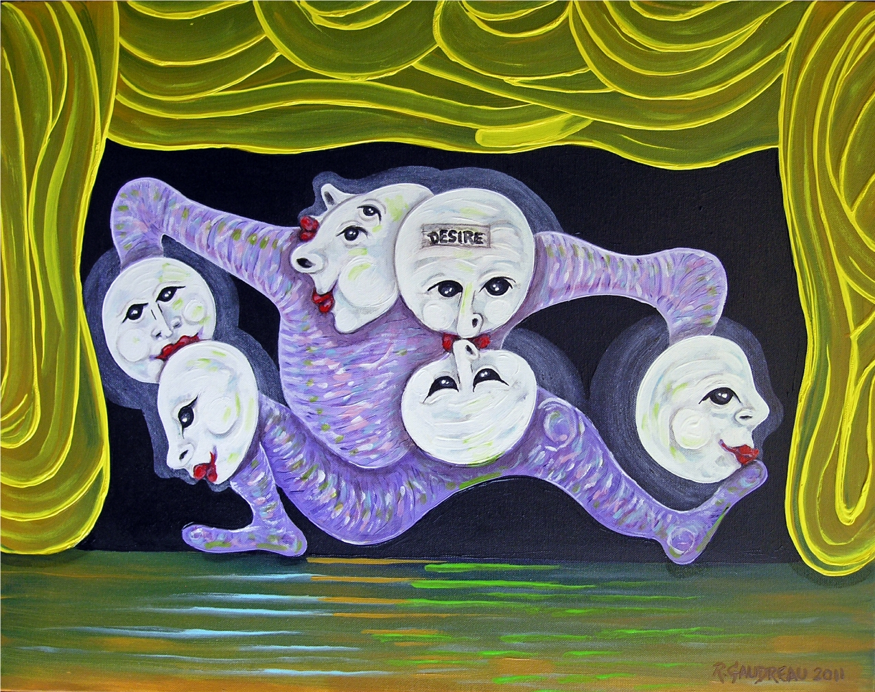 "Buskers of the City Desire/Kissing Time      2011  Oil on canvas 22""H x 28""W"