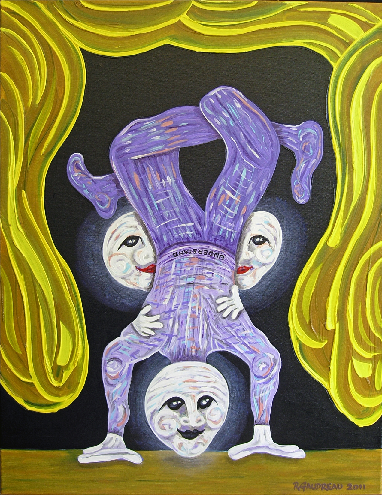 Buskers of the City   Understand / Upside Down    2011  oil on canvas 22 x28 inches