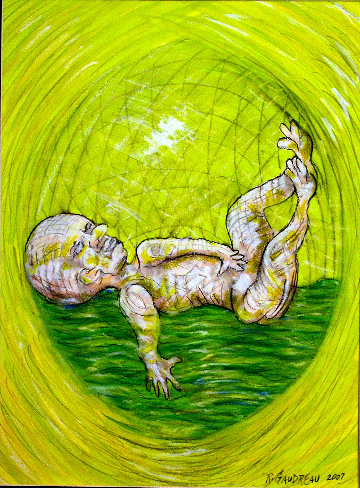 My Daughters Embryonic State Floating    2007 Gouache, Oil Pastel mixed media painting on watercolor paper 16H x 12W inches