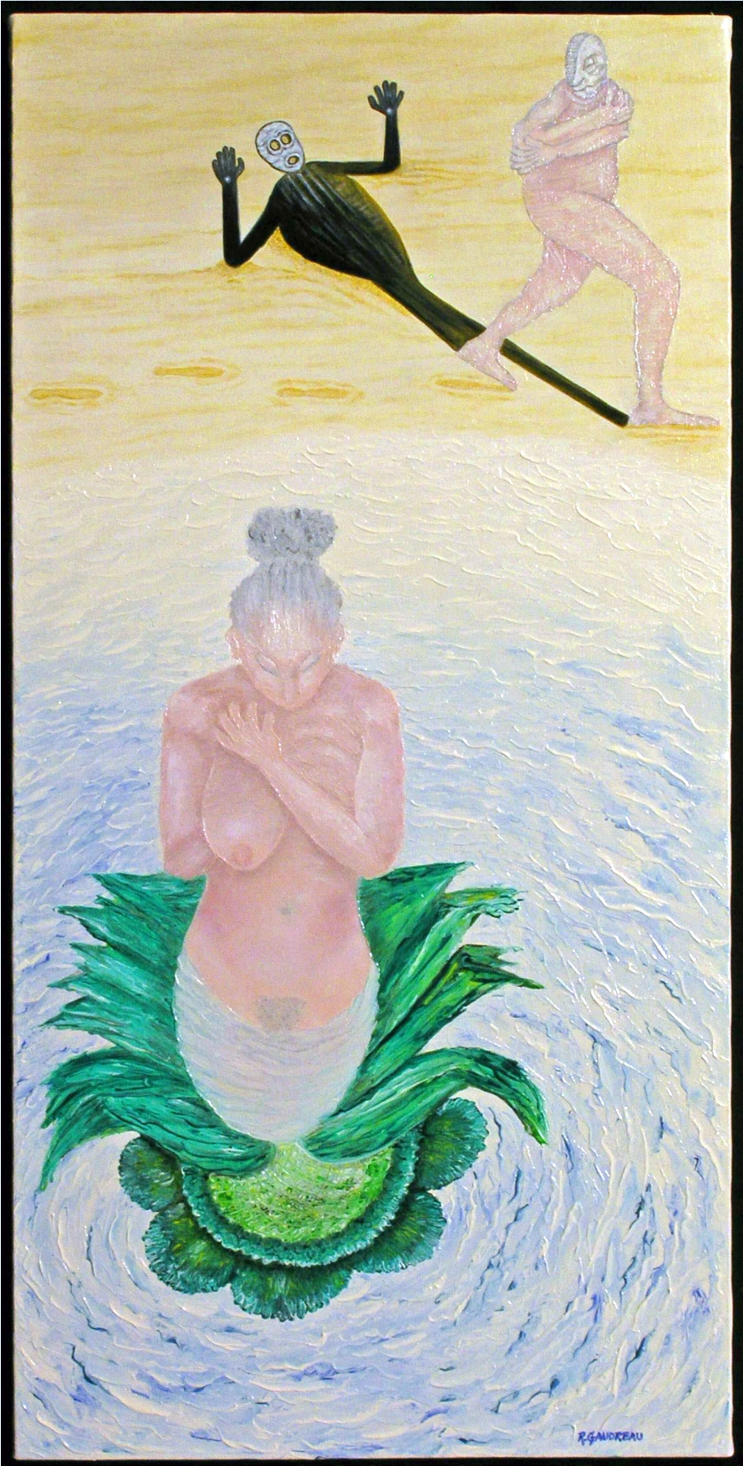 The Stalk 1998 oil knife painting on canvas 30 x 15 inches