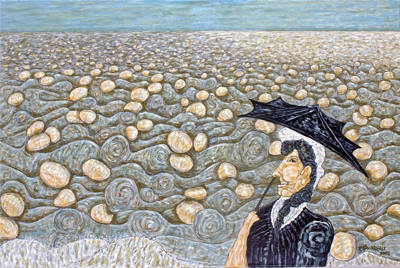 Madam at the Sea of People  2001 oil on linen 24 x 36 inches