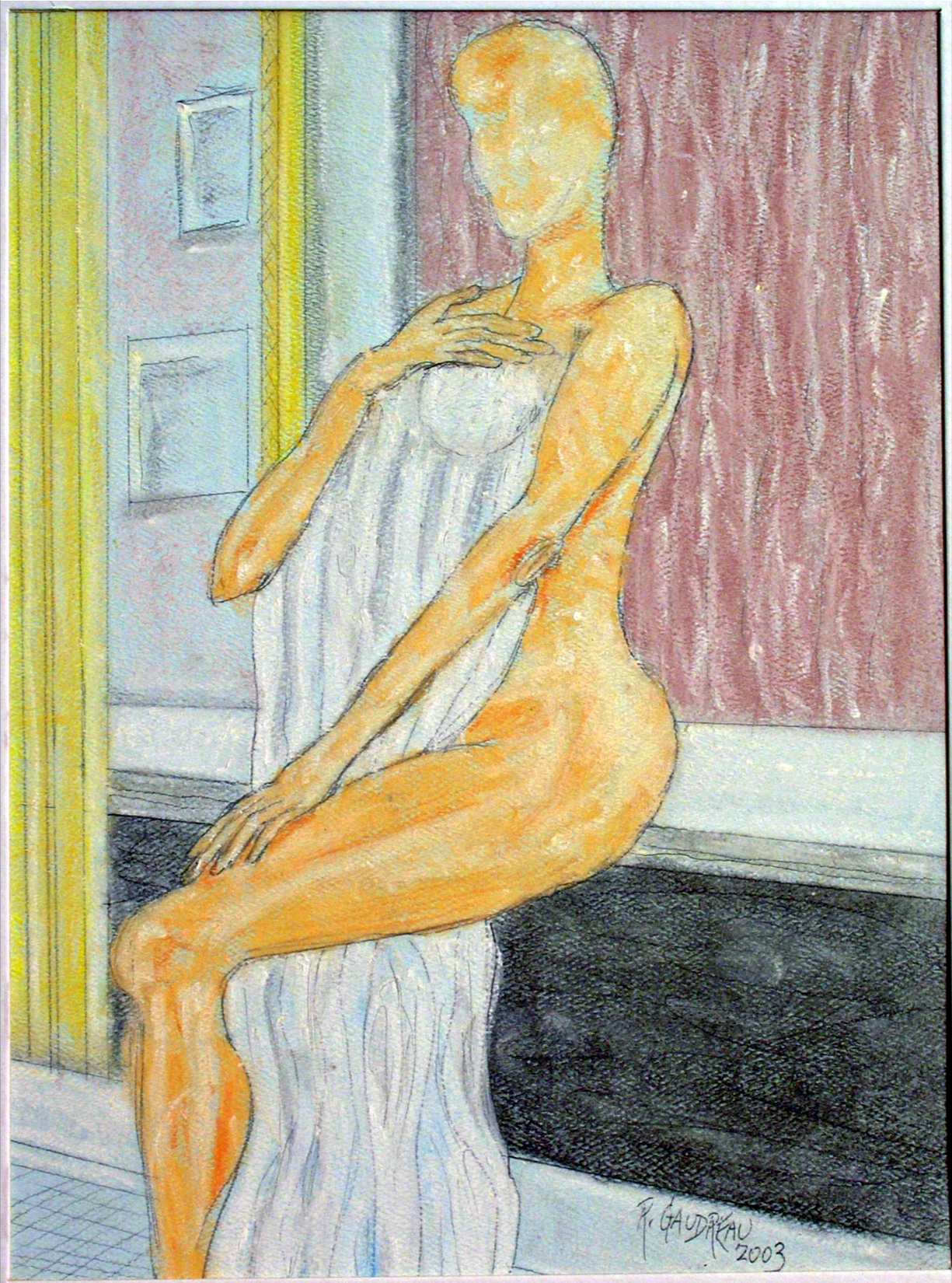 Woman with Towel  2003 pastel, charcoal on paper 11 x 14 inches
