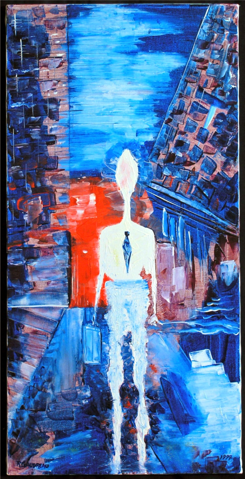 Man with the Suitcase Evening Work  1997 mixed media knife painting on canvas 30 x 15 inches