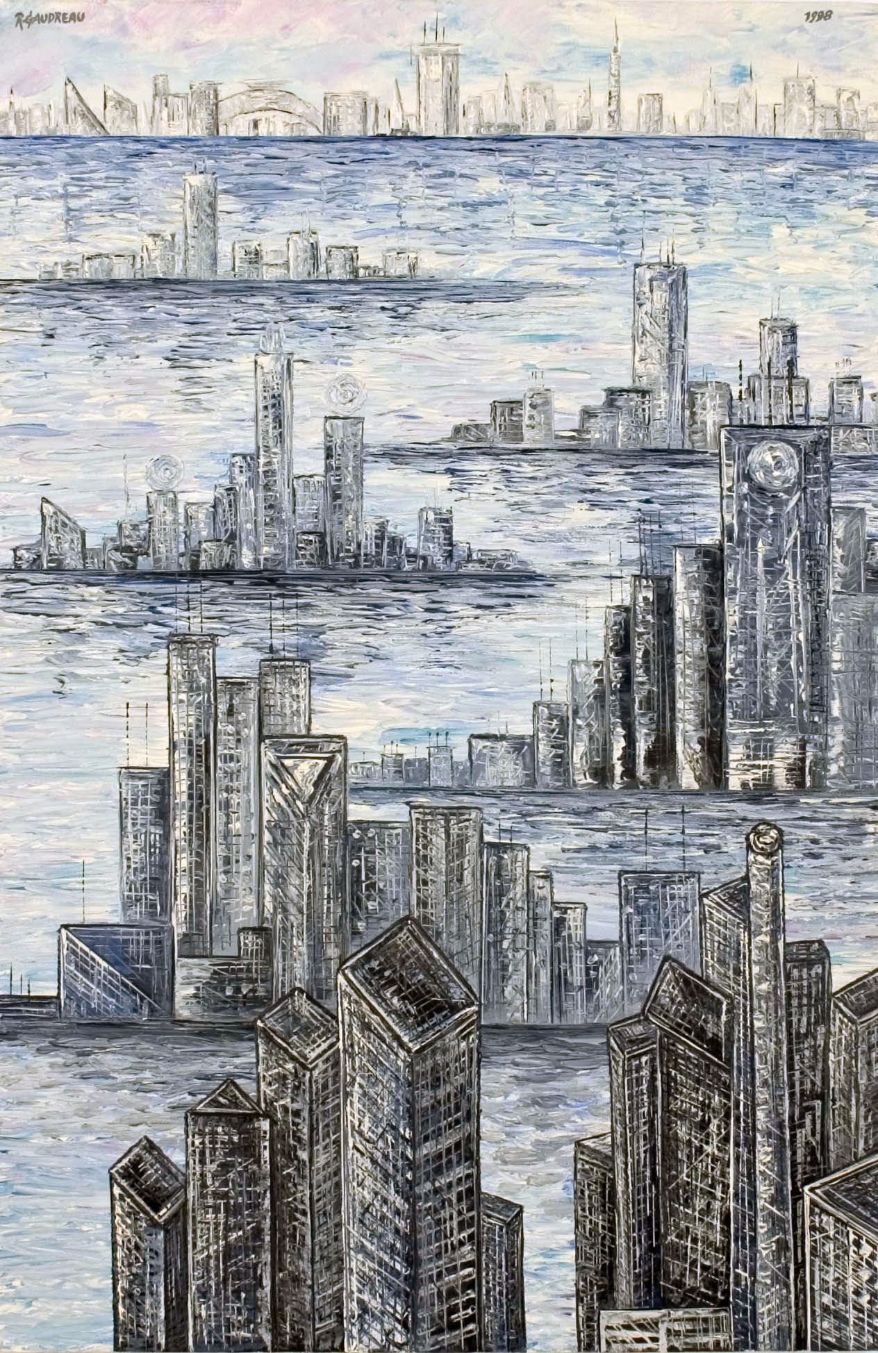 City Ships   1998 oil knife painting on canvas 30 x 20 inches
