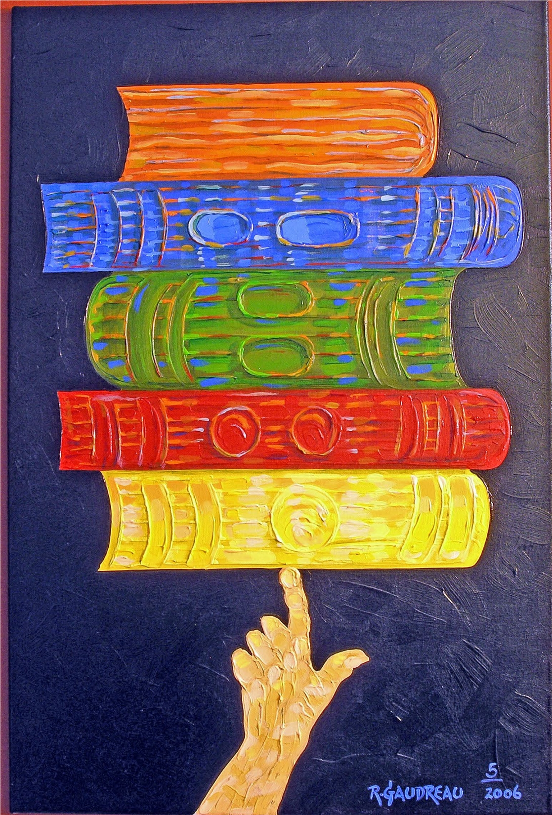 5 Books 2006 oil on canvas 36 x 24 inches