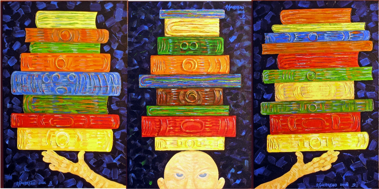 8 9 10  Books    (Triptych)   2006 oil on canvas 36 x 24 inches