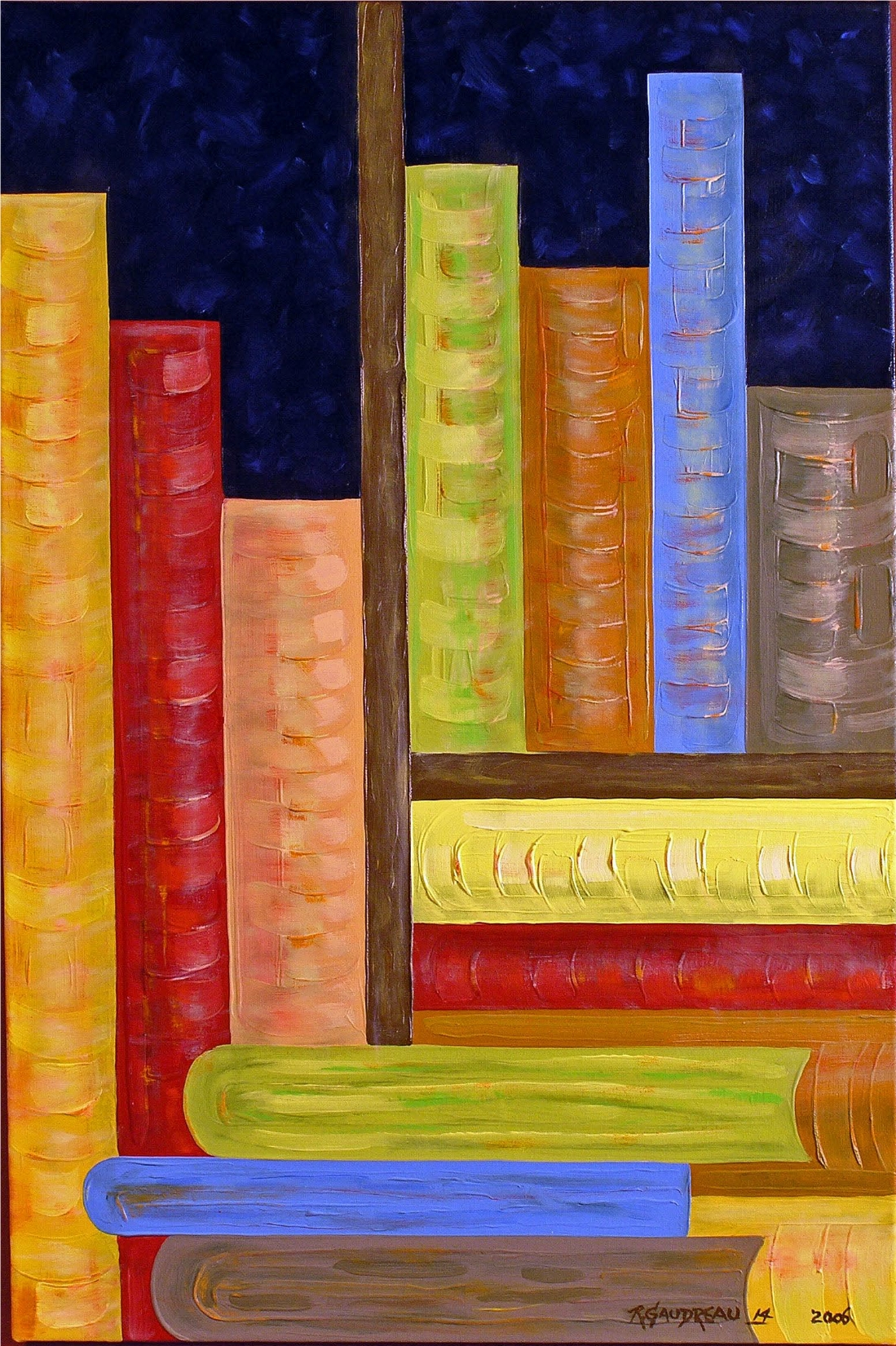 14 Books   2006 oil on canvas 36 x 24 inches