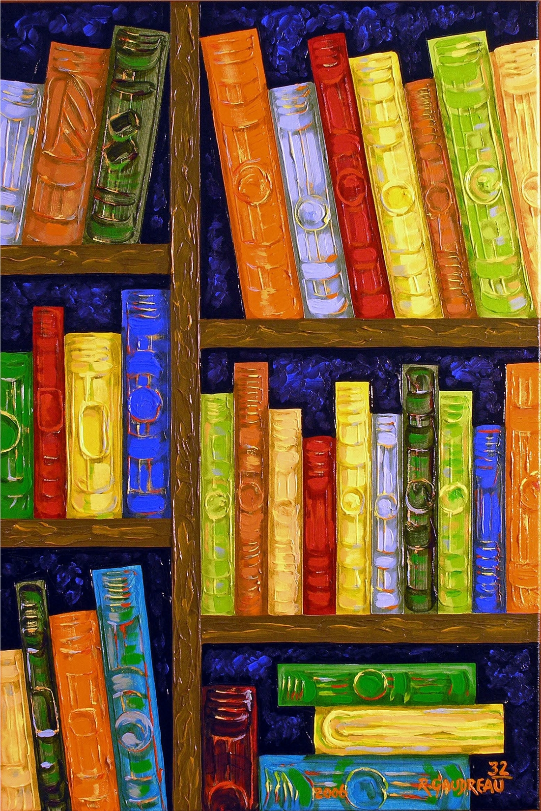 32  Books 2006 oil on canvas 36 x 24 inches
