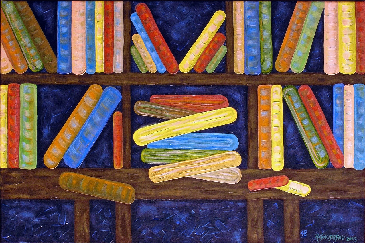 Bookshelf 48 2005 oil on canvas 36 x 24 inches